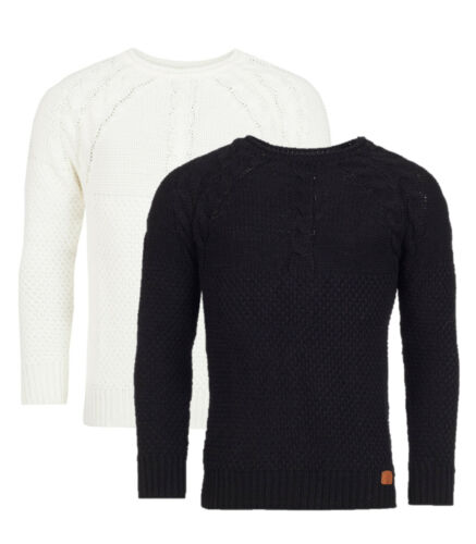 Men/'s Knitted Top Casual Sweater Crew Neck Pullover Long sleeves Black White
