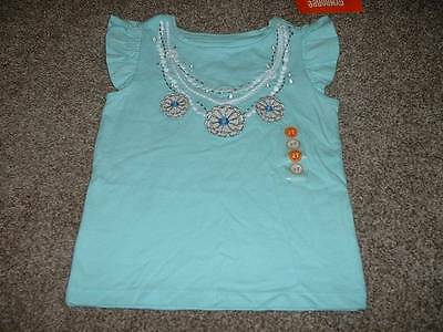 Girls Tide Pool Teal White Necklace Top Shirt Size 2T 2 Toddler NWT NEW Gymboree