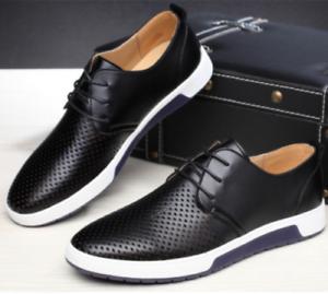 British-Men-Casual-en-cuir-veritable-Chaussures-a-Lacets-Baskets-Oxford-respirant-NEUF