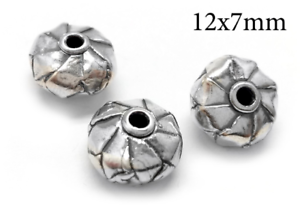 3pc-Sterling-Silver-925-bead-Hollow-Cylinder-bead-tube-12x7mm-Antique-silver