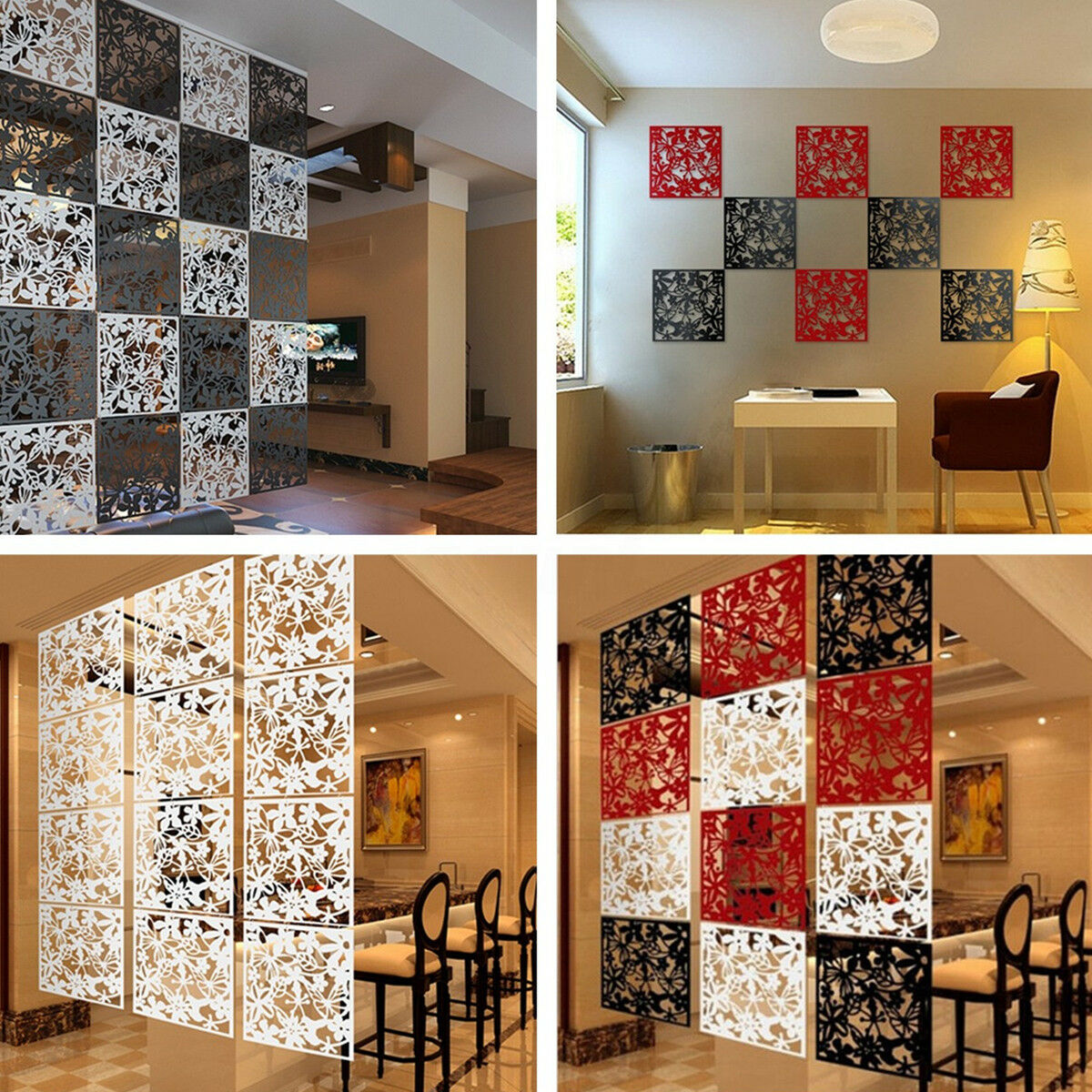 Room Partition Wall: 8Pcs Butterfly Flower Hanging Screen Curtain Room Divider