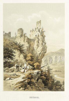 - Burgruine Neideck Kaeppel Ehrlich Streitberg wiesenttal Farblithografie Um 1840