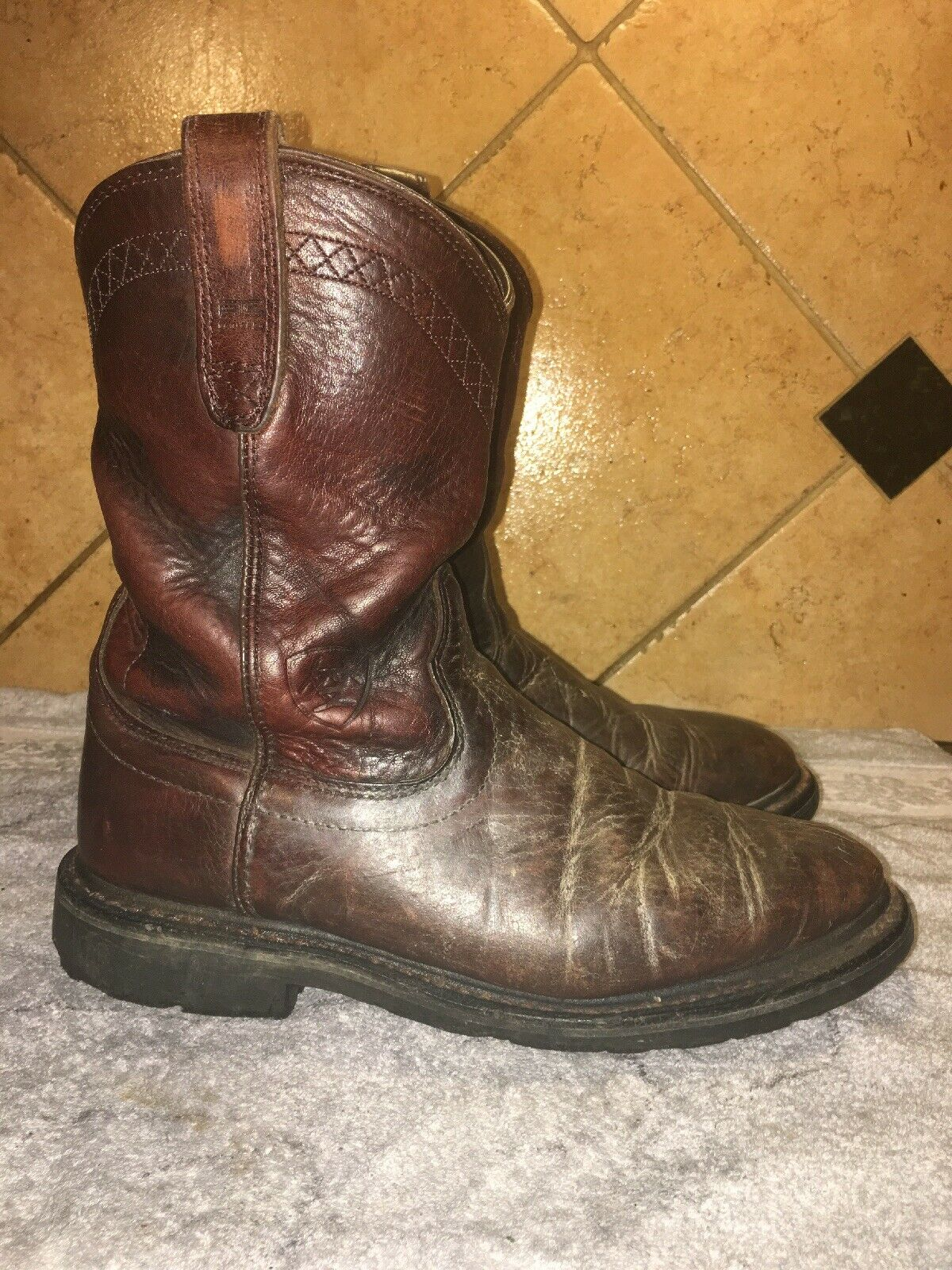 Ariat 10002429 Brown Leather Work Boots Sz 8.5 D