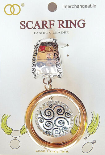 NWT SILVER HAMMERED SCARF RING W//2 TONED DOUBLE ROUND CIRCLE PENDANT-RHINESTONES