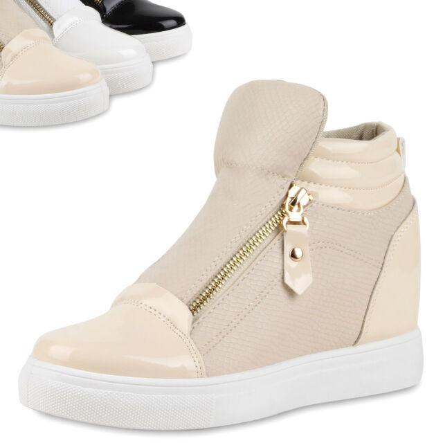 Damen Sneaker-Wedges Lack Sneakers Zipper Keilabsatz Materialmix 79092 Top