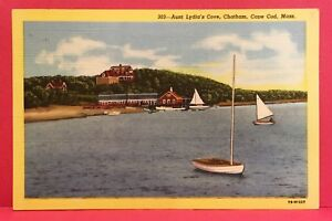 Postcard-MA-Chatham-Cape-Cod-Aunt-Lydia-039-s-Cove-Posted-1949-Vintage-Linen-Card-A3