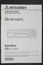 Mitsubishi hs-761v ORIGINAL VIDEO RECORDER MANUAL/Manual del usuario