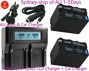 Quick-LCD-Charger-2x-Battery-for-Sony-NP-F970-F770-CCD-TR-TRV-Camcorder-BY-AU