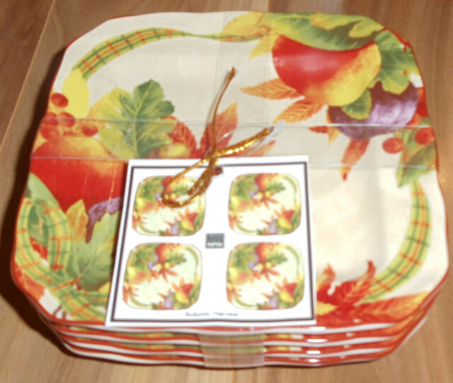 222 Fifth Autumn Harvest Set of Four Square Fine China Appetizer Plates  ~ NEW