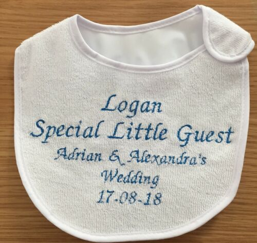 Personalised Wedding Baby Bib Any Name Embroidered In Any Colour