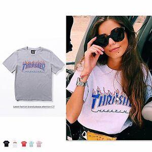 Donna-Thrasher-cotone-camicia-blusa-maglietta-maniche-corte-maglione-logo