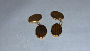 9ct-Oval-Gold-Cuff-Links-Engine-Turned-Decoration-Birmingham-3-54g