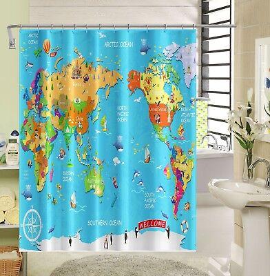 Bath Window Treatments & Hardware Painstaking 3d World Map Child 8 Shower Curtain Waterproof Fiber Bathroom Windows Toilet Agreeable To Taste