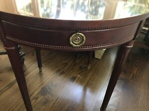 Image Is Loading Mahogany Round Side Table With Drawer And Brass
