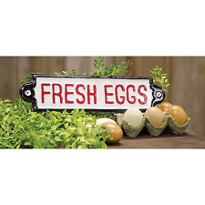 New Retro Farmhouse Chic Vintage FRESH EGGS SIGN Rustic Tin Wall Hanging Plaque