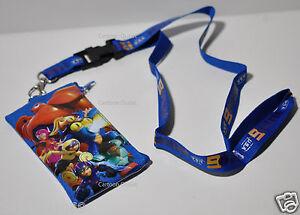 Blue Disney Big Hero 6 Key Chain Lanyard ID Holder Detachable Coin Purse