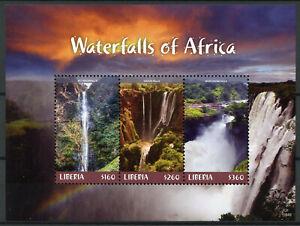 Liberia-2018-Gomma-integra-non-linguellato-CASCATE-DELL-039-AFRICA-ozoud-Falls-3v-m-s-i-paesaggi