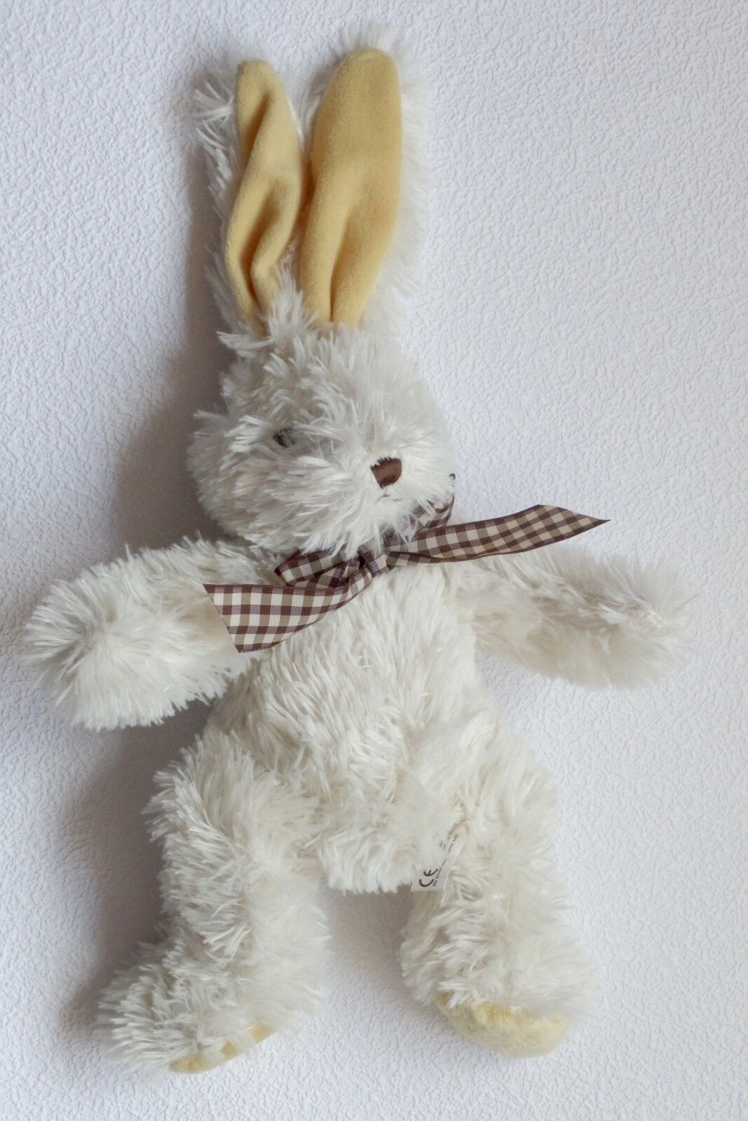 G. Wurm Hase weiß Bunny - Hasi karierte Fliege - Bunny  Ohrenspitze 41 cm Granulatpopo  24aa09