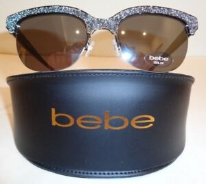 8240de3cd9 Image is loading Bebe-QUIRKY-BB7169-Jet-Black-Fashion-Clubmaster-Sunglasses-