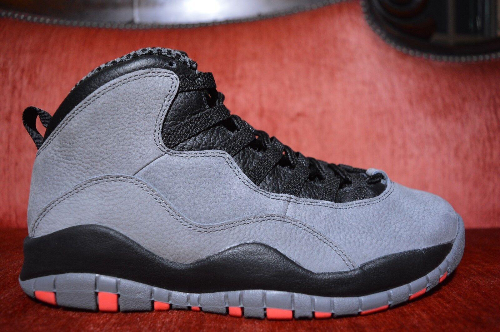 WORN 1X Nike Air Jordan Retro 10 Cool Grey/Infrared-Nero Infrared Size 8 Nike