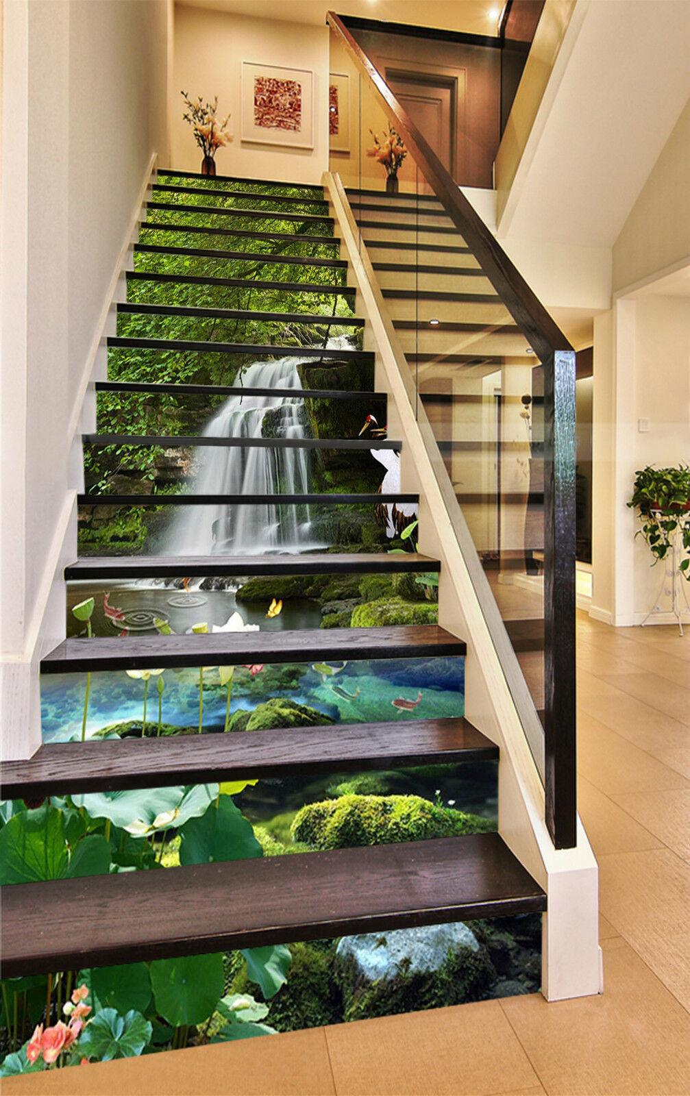 3D Lotus Teich 533 Stair Risers Dekoration Fototapete Vinyl Aufkleber Tapete DE