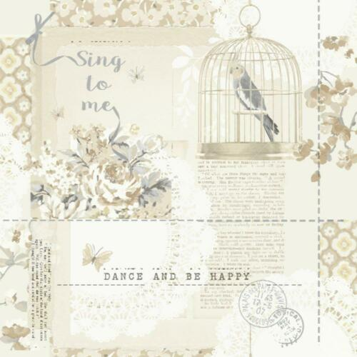Arthouse Sing To Me Feature Wallpaper Beige Birds Shabby Chic Metallic Silver