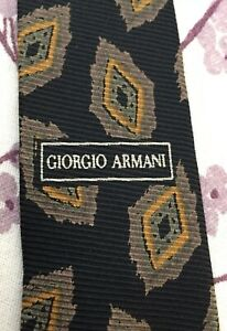d0f4d2561a39 Image is loading VTG-Giorgio-Armani-Tie-Black-Paisley-Medallion-100-