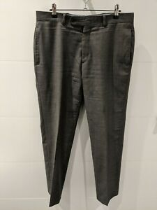TOMMY-HILFIGER-Grey-Birdseye-Weave-Trousers-100-Wool-Mens-33-Waist