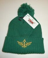 Green Nintendo Legend Of Zelda Triforce Skyward Pom Beanie Hat Cap Winter Warm