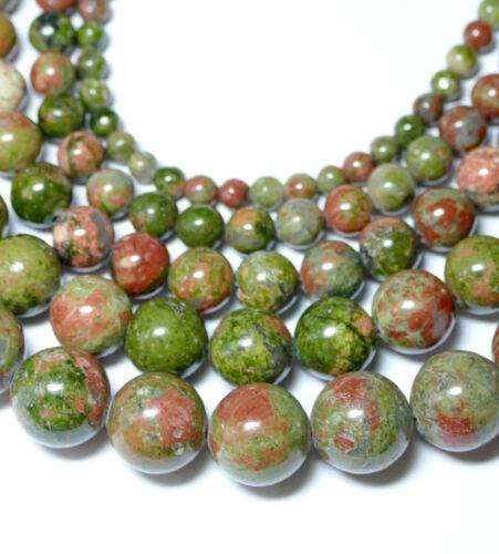 1 Strang #4054 bacatus Edelstein Unakit bala perla brillo verde marrón 4-12 mm