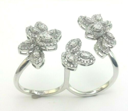 Details about  /Real 925 Sterling Silver cocktail ring white round flower two finger pear cz