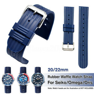 20mm-22mm-Rubber-Waffle-Watch-Strap-Soft-Band-Diver-Watch-For-Omega