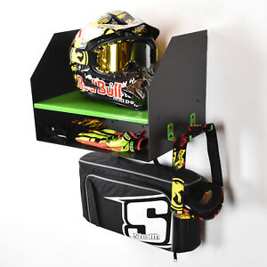Image Is Loading Kawasaki Green Motocross Motorcycle Motox Bike Helmet  Storage