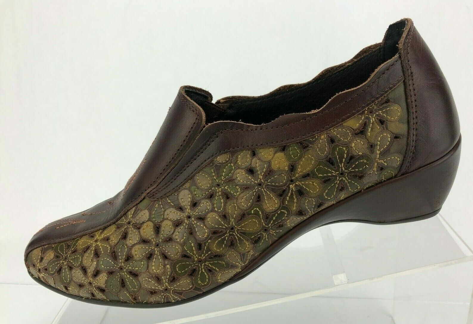 Pikolinos Loafers Floral Cutout braun Leather Comfort Slip On damen 39 8.5,9