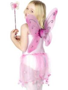 PINK BUTTERFLY WINGS, GIRLS FANCY DRESS, ANGEL, FAIRYTALE, WOMENS