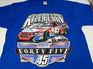 Vintage-NASCAR-Kyle-Petty-45-T-Shirt-Front-amp-Back-Brawny-Size-XL-Blue-Cotton