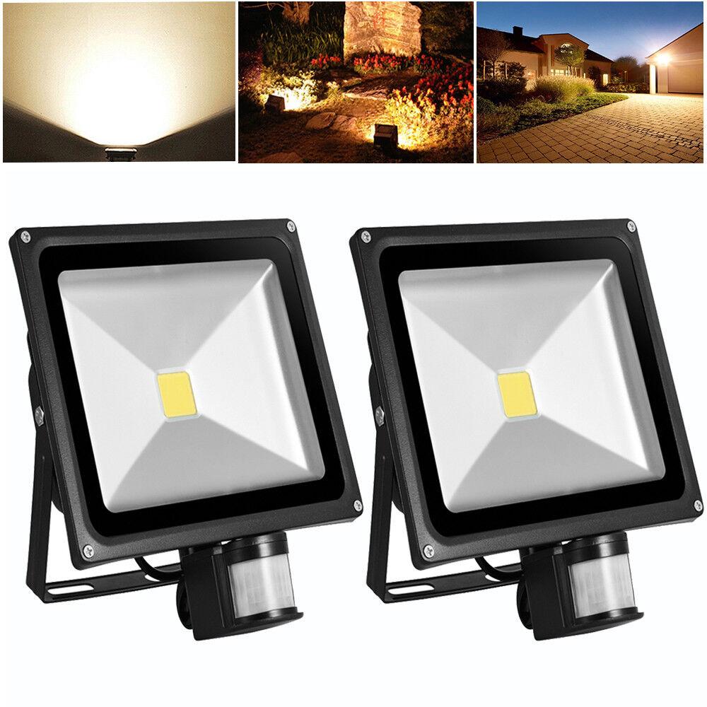 2x 50W LED Foco Sensor De Movimiento Pir Exterior De Jardín Luz de Seguridad de pasillo