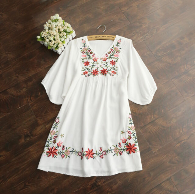 Women Mexican Ethnic Embroidered Pessant Hippie Blouse Gypsy Boho Mini Dress