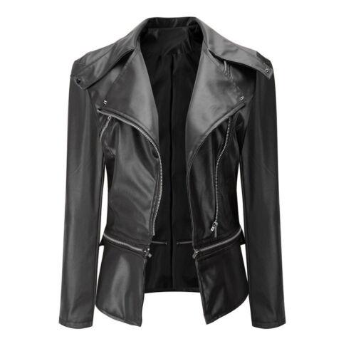 Fashion Women Solid Biker Motorcycle Leather Zipper Jacket Overcoat Outwear