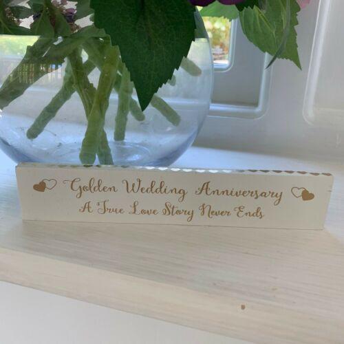Wedding Anniversary Freestanding Wooden Sign First Silver Golden Diamond Ruby