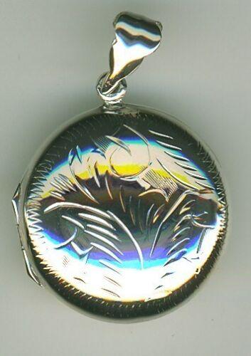 925 Sterling Silver Round Engraved Locket 18mm Diameter Photo memories keepsake