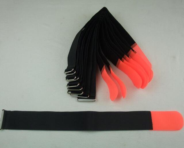 10 Stück Kabel-Klettband 50cm x 50mm neonrot Klettbänder Kabelklett Kabelbinder