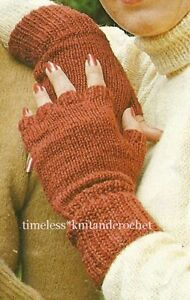 Knitting Pattern Fingerless Mittens Two Needles : VINTAGE KNITTING PATTERN FOR FINGERLESS GLOVES / MITTS - worked on 2 needles ...