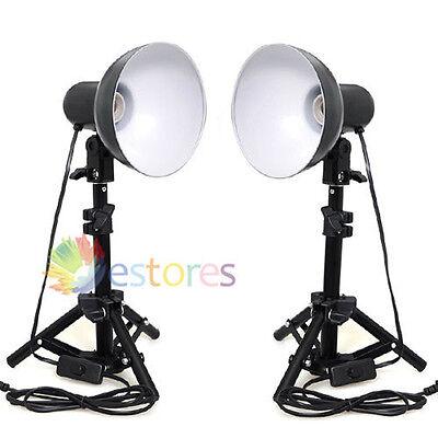 2 x Daylight Table Top Light + 40cm Mini Light Stand For Photo Studio Lighting