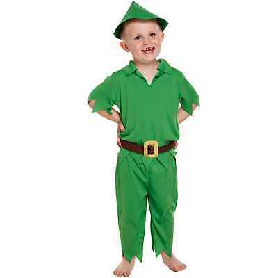 Toddler Peter Pan Fancy Dressing Up Costume Outfit Baby Hat Belt Book 3 Years
