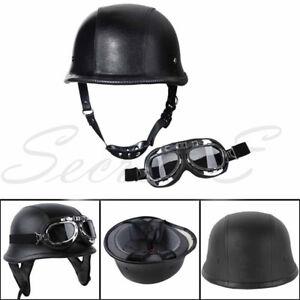 DOT German Black Leather Half Face Helmet Motor Biker Pilot Goggles M L XL Adult