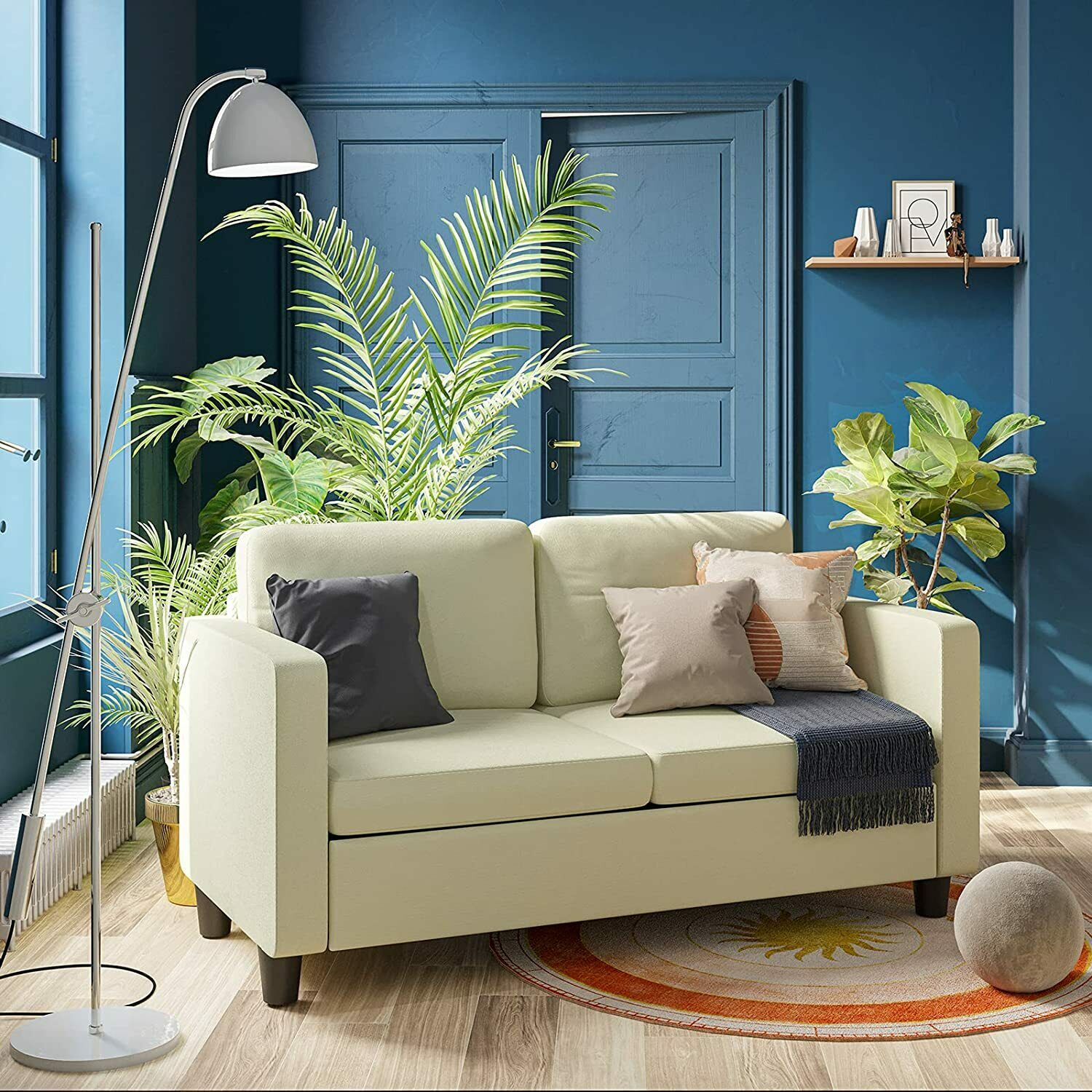 Modern 2 Seater Couch Sofa Living Room Loveseat Fabric Love Seat Small Space