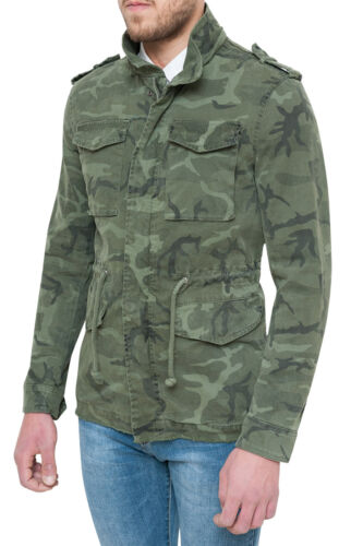 Jacket Parka Man Military Slim Fit Tight Jacket Camouflage Green Camouflage