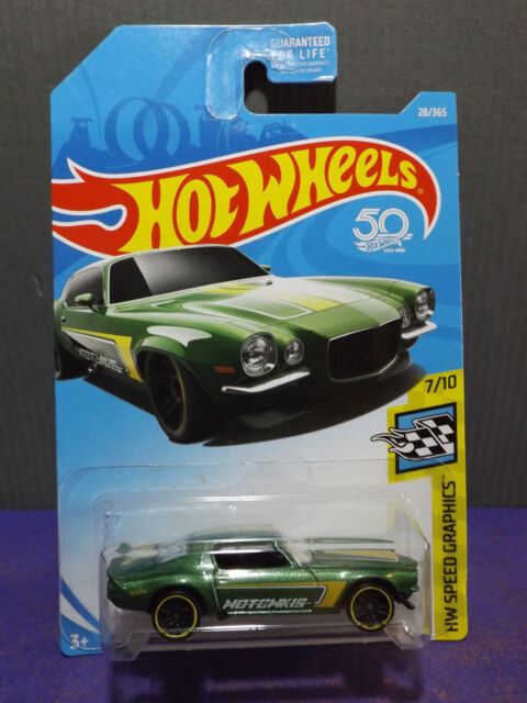 2018 HOT WHEELS '70 CAMARO New HW SPEED GRAPHICS Green Camaro 7/10. Long card.