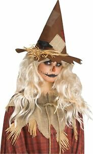Adult Scary Scarecrow Felt Straw Patched Hat Crow Halloween Costume Accessory